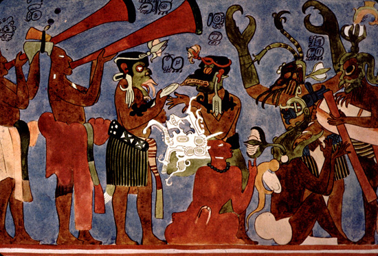 Maya trumpets of bonampak for Bonampak mural painting